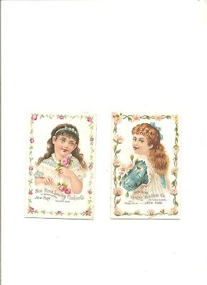 Lot of 2 1880s New Home Sewing Machine Co. cards, young ladies