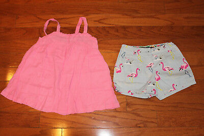 Mini Boden Girls Size 9-10 Pink Tunic Top w/Size 8 w/Laundered Flamingo Short GC