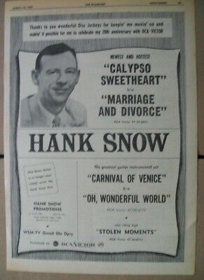 Hank Snow 1957 Ad- Calypso Sweetheart/Marriage and Divorce  RCA Victor
