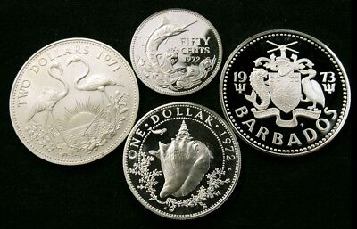 Lot of 4 Different Island Silver Coins - 1971-1973 - Bahamas & Barbados