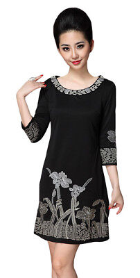 Fashion Women Ladies Embroidered Floral Party Evening Cocktail Mini Dress