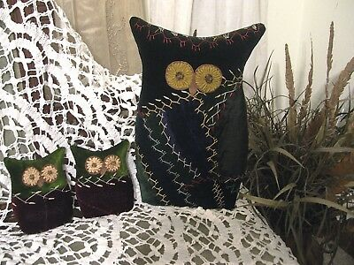 OWLS from 1880-90s CRAZY QUILT~ALL LUSH & VIBRANT VELVETS~MAMA OWL & TWO OWLETS~