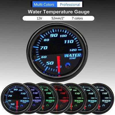 "Universal 2"" 52mm Black 7 Colors LED Water Coolant Temperature Temp Gauge Meter"