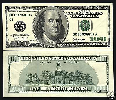 United States Of America Usa $100 Dollars P519 2003 Franklin Unc Money Bank Note