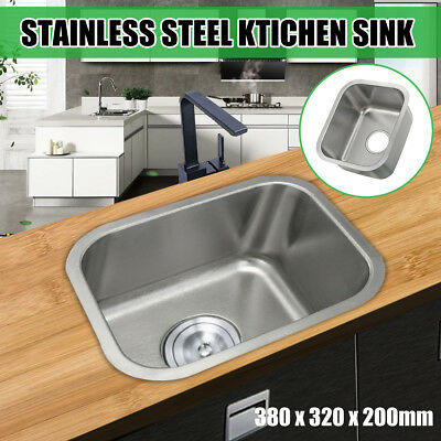 304 Stainless Steel Kitchen Single Sink Laundry Bowl Under/Topmount 38*32*20CM