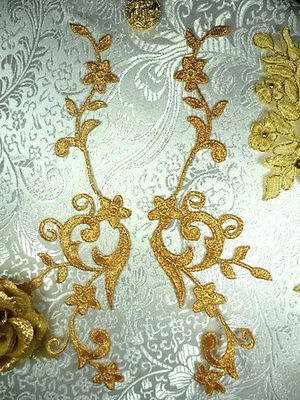 """Embroidered Appliques Gold Metallic Floral Vine Mirror Pair Iron On 9"""" (GB90)"""