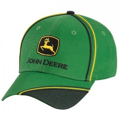 JOHN DEERE *GREEN TWILL* w/Black Mesh Accent TWILL HAT CAP *BRAND NEW*