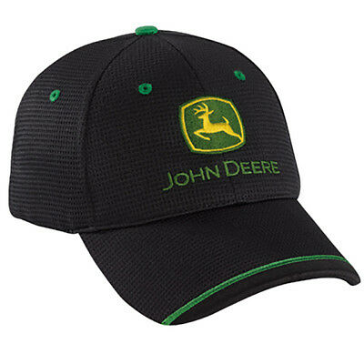 John Deere *black* Competition Mesh Twill Hat Cap *brand New*
