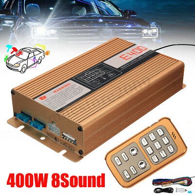 400W Car Fire 8 Sound Loud Alarm Siren Horn PA Speaker Warning Police MIC System