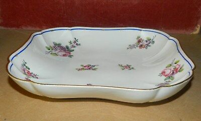 Antique four-sided porcelain tray with rose decoration from Sevres France c 1800