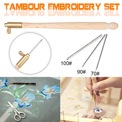 Tambour Hook Handle +3 Needle(70/90/100) Embroidery Tool Sequins Bead Neddle Set