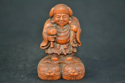 Chinese Collectible Old boxwood handwork carve immortal netsuke figure Statue
