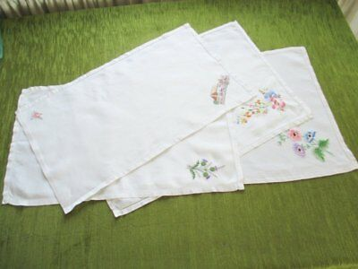 VINTAGE TRAY CLOTHS - EMBROIDERED - LINEN - Col.of 4