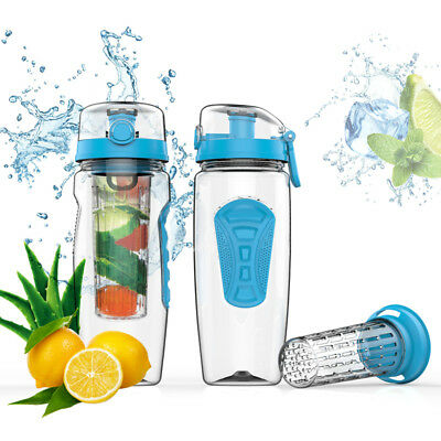 CampTeck 1 Litre 1000ml Fruit Infuser Water Bottle (BPA Free Tritan Plastic) wit