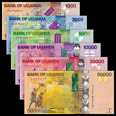 Uganda Full Set 6 PCS, 1000 - 50000 Shillings, 2010-2015, P-49-54, Matching, UNC