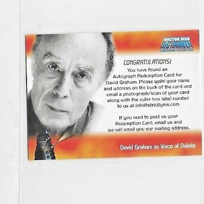 Doctor  Who Big Screen Additions Autograph Redemption Card David Graham
