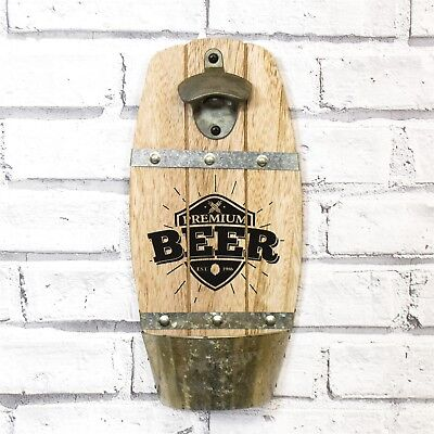 Wall Mounted Wooden Beer Barrel Shaped Bottle Opener with Cap Catcher Patio BBQ