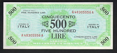 ITALY P-M22a. Allied Military Currency. 1943-A 500 Lire.. gEF-aUNC