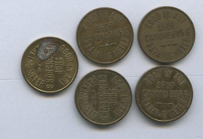 1193----vintage lot of 5 Canonsburg PA parking tokens