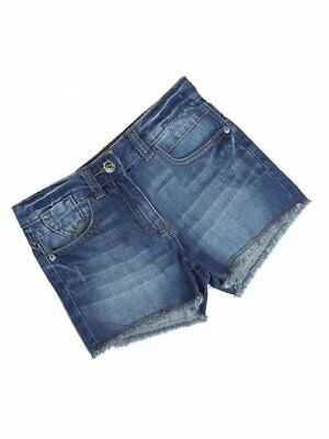 New Girls NEXT Denim Shorts Distressed Fringe Hem Dark Blue 4 5 7 8 9  Adj Waist