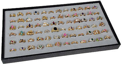 72 Slot Gray Ring Display Insert w/ Black Plastic Travel Stackable Jewelry Tray