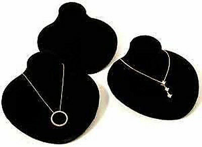 3 New Black Velvet Jewelry Display Bust Pendants & Necklaces Neck Forms