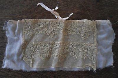 Victorian Dress Trim Embroidered Net Lace Satin Bow Ecru Doll Dressing