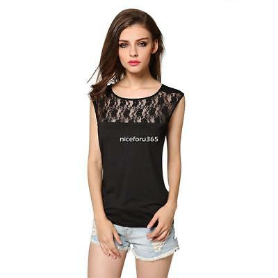 FINEJO Stylish Women Round Neck Hollow Out Floral Lace Patchwork Slim N4U8 02