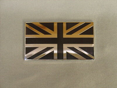 New Triumph Black And Silver Union Jack Flag Decal Badge