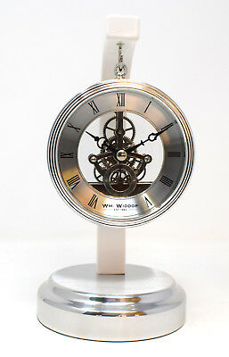 Silver Metal Suspended Skeleton Dial Mantel Clock Piano Finish Cogs Contemporary