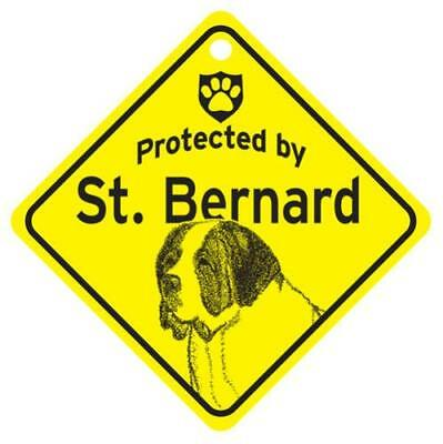 Protected by Saint Bernard Dog Window Sign Made in USA