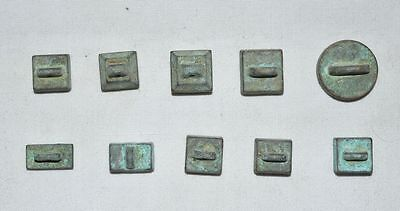 China Ancient Small Bronze Seal Qing Dynasty Ten Emperors'name Stamp Set 10Pcs