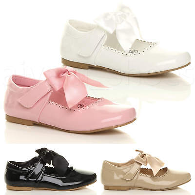 Girls Childrens Kids Ribbon Bow Scalloped Bridesmaid Party Mary Jane Shoes Size