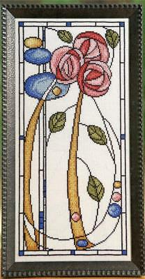 Art Nouveau Floral Stained Glass Cross Stitch Pattern By Sharon Pope