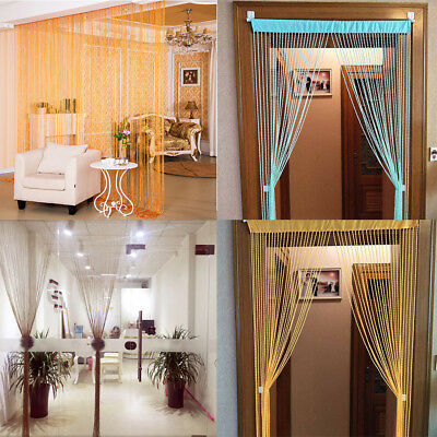 Door Fly Screen Room Divider Fringe Curtains Window Glitter String Curtain Panel