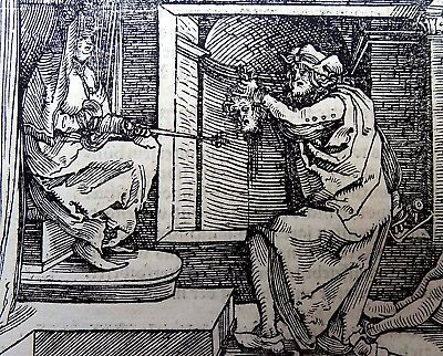 1532 Master of Petrach - Hans Weiditz woodcut leaf - BEHEADING BEFORE QUEEN