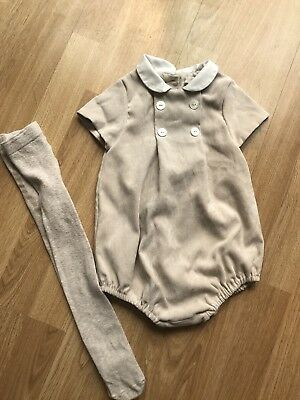 Baby Boy Mayoral 12 Months Romper Beige Traditional Spannish With Tights