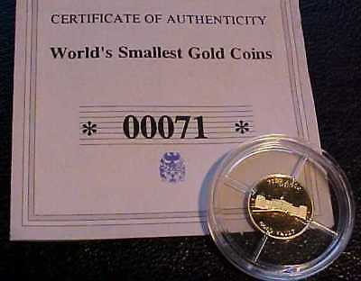 2007 PROOF 14ct SOLID GOLD .585 LTD ISSUE= FORT KNOX - WORLDS SMALLEST GOLD COIN