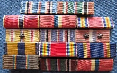 Lot of WWII period, 1/2-inch wide US ribbons, some bar mounted