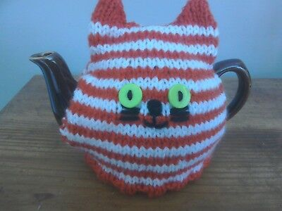 Hand Knitted Tea Cosy For Small Teapot Ginger And White Cat
