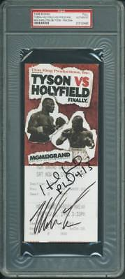 Mike Tyson & Evander Holyfield Signed 1996 Fight Full Ticket PSA/DNA Slabbed