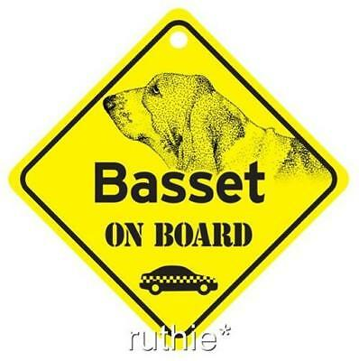 Basset Hound On Board Window Sign Made in USA