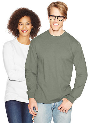 Hanes Long Sleeve T Shirt 100% Cotton Adult Beefy Tee Thicky Heavy S-3XL 5186