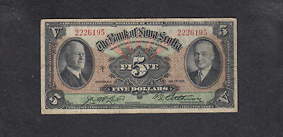 1935 Canada Nova Scotia 5 Dollars Chartered Bank Note