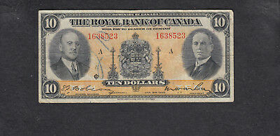 1935 Canada Royal 10 Dollars Chartered Bank Note