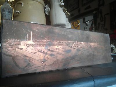 Industrial Revolution Factory & Rail Road Aerial Engraved Copper Printing Plate
