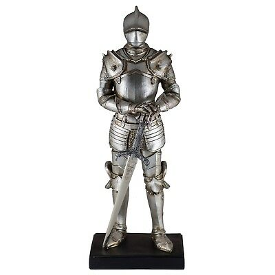 """Medieval Silver Armor Knight With Sword Figurine 11.5"""" High Resin New In Box!"""