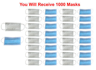 1000x Disposable Face Mask 3-Ply SOFT Earloop Medical Surgical Dental Allergy
