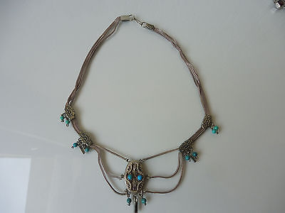 Very Beautiful, OLD NECKLACE__800 Silver__with Turquoise __( Indian, O.O Rien )