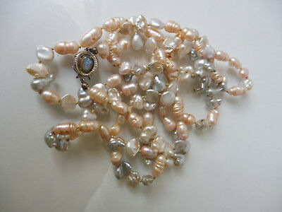VERY NICE, Old Necklace ( Bead Chain )__ with 333 White Gold __ 2 Opal __92cm__